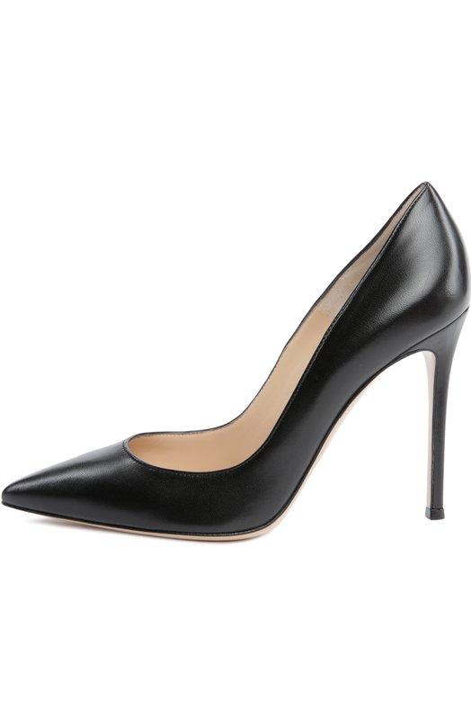 Кожаные туфли Gianvito 105 на шпильке Gianvito RossiТуфли<br>Черные туфли-лодочки с зауженным мысом, на высоком каблуке-шпильке вошли в коллекцию сезона весна-лето 2016 года. Модель Gianvito 105, выполненная из гладкой матовой кожи, названа в честь Джанвито Росси.<br><br>Российский размер RU: 40<br>Пол: Женский<br>Возраст: Взрослый<br>Размер производителя vendor: 40-5<br>Материал: Кожа натуральная: 100%; Стелька-кожа: 100%; Подошва-кожа: 100%;<br>Цвет: Черный