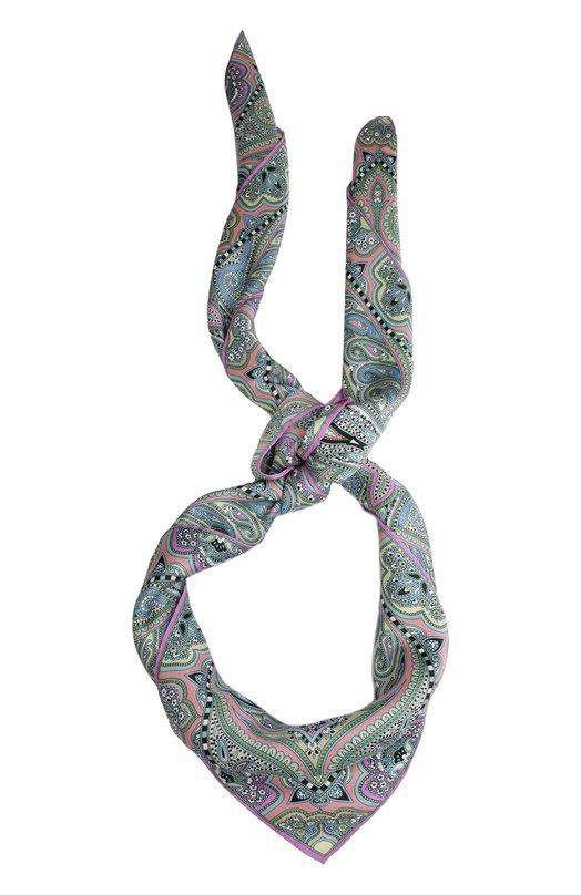 Шелковый платок с принтом Michele BindaПлатки<br><br><br>Российский размер RU: 140<br>Пол: Женский<br>Возраст: Взрослый<br>Размер производителя vendor: 140X140<br>Материал: Шелк: 100%;<br>Цвет: Розовый
