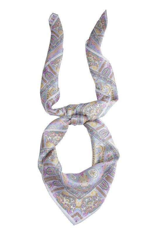 Шелковый платок с принтом Michele BindaПлатки<br><br><br>Российский размер RU: 140<br>Пол: Женский<br>Возраст: Взрослый<br>Размер производителя vendor: 140X140<br>Материал: Шелк: 100%;<br>Цвет: Серый