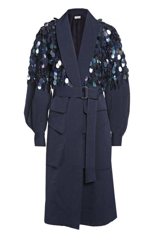 Пальто с поясом Dries Van NotenПальто и плащи<br><br><br>Российский размер RU: 42<br>Пол: Женский<br>Возраст: Взрослый<br>Размер производителя vendor: 38<br>Материал: Хлопок: 80%; Шелк: 20%;<br>Цвет: Темно-синий
