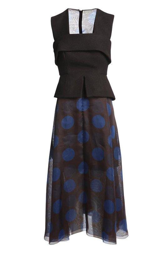 Платье DelpozoПлатья<br>В классическую коллекцию бренда, основанного Хесусом Дель Позо, вошло длинное платье без рукавов. Облегающий лиф с баской и декоративной лентой выполнен из фактурной шерстяной ткани. Расклешенный подол сшит из полупрозрачного тонкого шелка. Нам нравится носить с бежевыми туфлями и небольшой сумкой.<br><br>Российский размер RU: 42<br>Пол: Женский<br>Возраст: Взрослый<br>Размер производителя vendor: 36<br>Материал: Шелк: 83%; Мохер: 3%; Шерсть: 14%; Подкладка-шелк: 100%;<br>Цвет: Черный