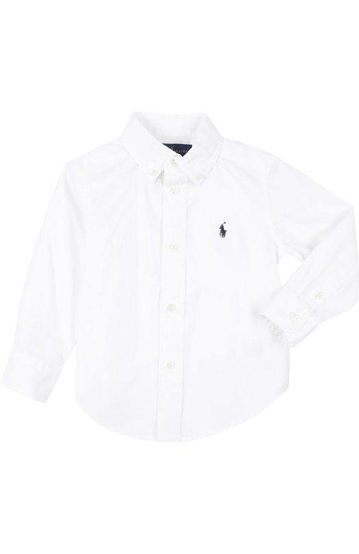 Рубашка Polo Ralph LaurenРубашки<br>Ральф Лорен включил белую рубашку с длинным рукавом в классическую коллекцию. Модель из мягкого хлопка пике декорирована вышитой эмблемой бренда. Изделие свободного кроя и манжеты застегиваются на пуговицы.<br><br>Размер Years: 2<br>Пол: Мужской<br>Возраст: Детский<br>Размер производителя vendor: 92-98cm<br>Материал: Хлопок: 100%;<br>Цвет: Белый