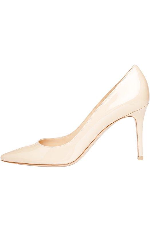 Лаковые туфли Gianvito 85 на шпильке Gianvito RossiТуфли<br>Классические туфли-лодочки произведены мастерами марки из лакированной кожи. Модель вошла в классическую коллекцию бренда, основанного Джанвито Росси. Бежевая модель с зауженным мысом, на шпильке средней высоты получила название Gianvito 85.<br><br>Российский размер RU: 40<br>Пол: Женский<br>Возраст: Взрослый<br>Размер производителя vendor: 40-5<br>Материал: Кожа натуральная: 100%; Стелька-кожа: 100%; Подошва-кожа: 100%;<br>Цвет: Бежевый