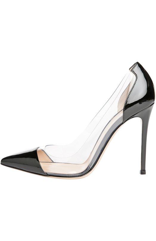 Лаковые туфли Plexi на шпильке Gianvito RossiТуфли<br>В классическую коллекцию марки вошли туфли Plexi из лакированной кожи черного цвета. Мастера бренда, основанного Джанвито Росси, дополнили модель на высокой шпильке боковыми вставками из прозрачного плексигласа.<br><br>Российский размер RU: 41<br>Пол: Женский<br>Возраст: Взрослый<br>Размер производителя vendor: 41<br>Материал: Кожа натуральная: 60%; Пластмасса: 40%; Стелька-кожа: 100%; Подошва-кожа: 100%;<br>Цвет: Черный
