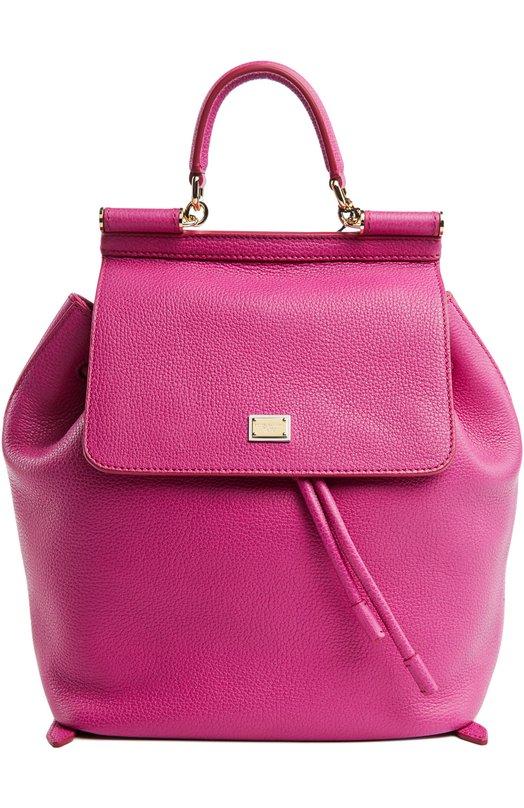 Кожаный рюкзак с клапаном Sicily Backpack Dolce &amp; GabbanaРюкзаки<br>В классическую коллекцию бренда, основанного Доменико Дольче и Стефано Габбана, вошел рюкзак из мелкозернистой кожи розового цвета. В аксессуар, который закрывается на клапан, поместятся зонт, кошелек и паспорт, во внешний карман – телефон и помада.<br><br>Пол: Женский<br>Возраст: Взрослый<br>Размер производителя vendor: NS<br>Материал: Кожа натуральная: 100%;<br>Цвет: Розовый