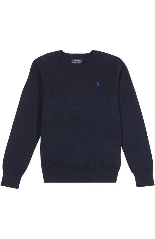 Пуловер джерси Polo Ralph LaurenСвитеры<br>Ральф Лорен включил темно-синий пуловер с длинным рукавом в весенне-летнюю коллекцию 2016 года. Модель с круглым вырезом сшита из мягкого хлопка джерси. Изделие декорировано вышивкой с логотипом марки.<br><br>Материал: Хлопок: 100%;<br>Российский размер RU: 42<br>Размер производителя vendor: XL<br>Цвет: Темно-синий<br>Пол: Мужской<br>Возраст: Детский