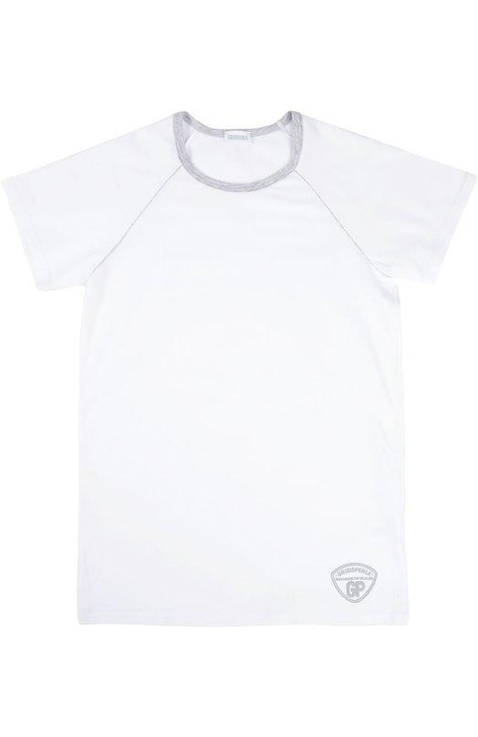Футболка GrigioperlaФутболки<br>Классическая белая футболка сшита мастерами марки из мягкого эластичного хлопкового джерси. Круглый вырез и короткие рукава дополнены темно-серым эластичным кантом. Модель украшена вышитым логотипом бренда.<br><br>Российский размер RU: 40<br>Пол: Мужской<br>Возраст: Детский<br>Размер производителя vendor: 14A<br>Материал: Хлопок: 90%; Эластан: 10%;<br>Цвет: Белый