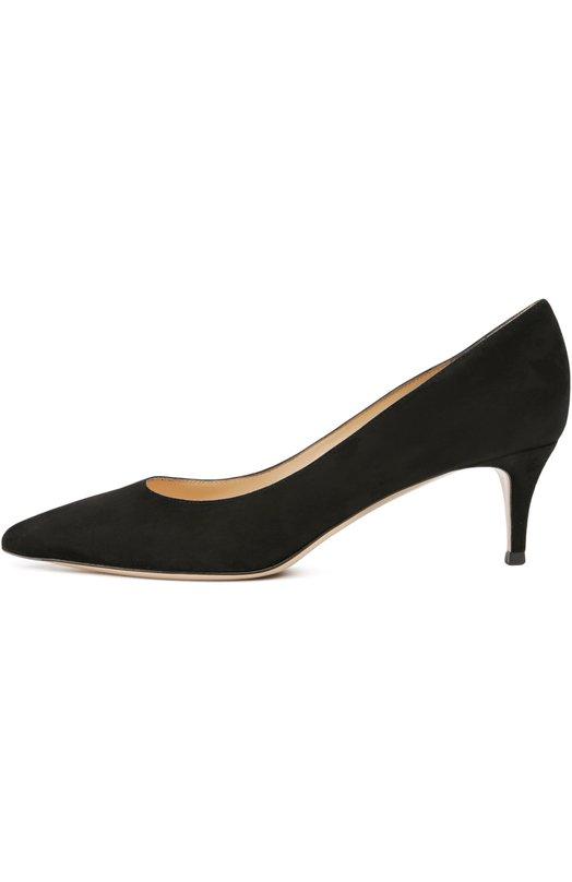 Замшевые туфли Сlassic на шпильке Gianvito RossiТуфли<br>Черные туфли произведены мастерами бренда, основанного Джанвито Росси, из гладкой и бархатистой замши. Модель с зауженным мысом, на тонкой подошве и невысоком каблуке kitten heel вошла в коллекцию сезона весна-лето 2016 года.<br><br>Российский размер RU: 37<br>Пол: Женский<br>Возраст: Взрослый<br>Размер производителя vendor: 37-5<br>Материал: Подошва-кожа: 95%; Подошва-пластмасса: 5%; Стелька-кожа: 100%; Замша натуральная: 100%;<br>Цвет: Черный