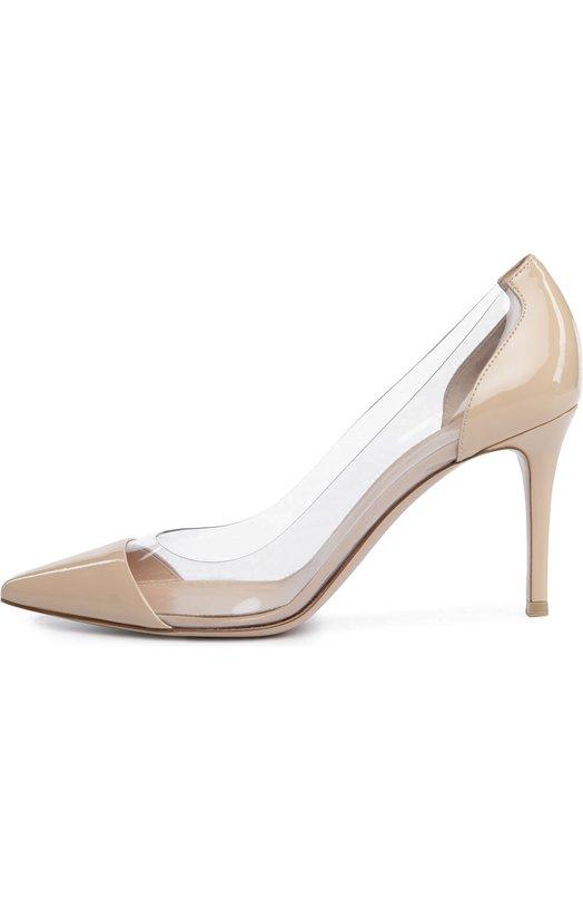 Купить Лаковые туфли Plexi на шпильке Gianvito Rossi, G20938/PATENT+PLEXI, Италия, Бежевый, Кожа натуральная: 60%; Замша натуральная: 60%; Пластмасса: 40%; Стелька-кожа: 100%; Подошва-кожа: 100%;