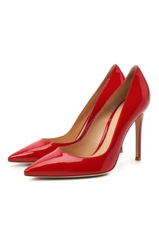 Лаковые туфли Gianvito 105 на шпильке Gianvito RossiТуфли<br>В классическую коллекцию бренда, основанного Джанвито Росси, вошли туфли с зауженным мысом и глубоким вырезом. При производстве модели на высоком тонком каблуке мастера марки использовали лакированную кожу красного цвета.<br><br>Российский размер RU: 38<br>Пол: Женский<br>Возраст: Взрослый<br>Размер производителя vendor: 38-5<br>Материал: Кожа натуральная: 100%; Стелька-кожа: 100%; Подошва-кожа: 100%;<br>Цвет: Красный