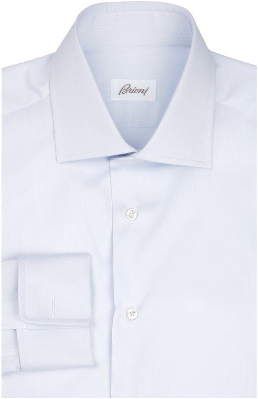 Сорочка BrioniРубашки<br>Светло-голубая рубашка с длинными рукавами сшита из мягкого хлопка высочайшего качества. Модель с французским воротником вошла в весенне-летнюю коллекцию 2016 года. Рекомендуем носить с полосатым галстуком, черным костюмом и монками.<br><br>Российский размер RU: 40<br>Пол: Мужской<br>Возраст: Взрослый<br>Размер производителя vendor: 40<br>Материал: Хлопок: 100%;<br>Цвет: Светло-голубой