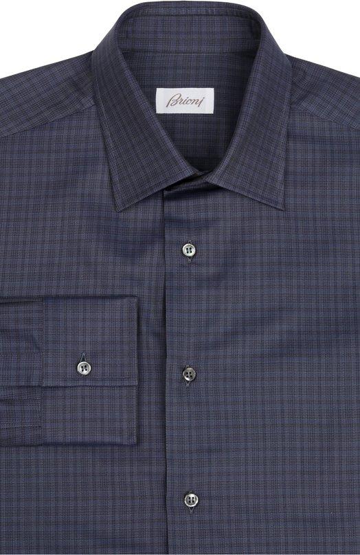 Сорочка BrioniРубашки<br>Темно-синяя сорочка в клетку вошла в весенне-летнюю коллекцию 2016 года. Модель силуэта slim fit произведена из мягкого хлопка высочайшего качества. Попробуйте носить с темным галстуком с диагональными полосами, серым костюмом и черными брогами.<br><br>Российский размер RU: 43<br>Пол: Мужской<br>Возраст: Взрослый<br>Размер производителя vendor: 43<br>Материал: Хлопок: 100%;<br>Цвет: Темно-синий