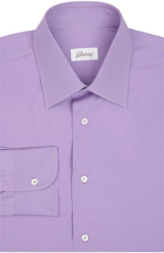 Сорочка BrioniРубашки<br>Модель с длинными рукавами вошла в весенне-летнюю коллекцию 2016 года. Для создания фиолетовой сорочки с французским воротником мастера марки использовали мягкий и гладкий хлопок высочайшего качества. Предлагаем носить с галстуком, серым костюмом и черными брогами.<br><br>Российский размер RU: 45<br>Пол: Мужской<br>Возраст: Взрослый<br>Размер производителя vendor: 45<br>Материал: Хлопок: 100%;<br>Цвет: Фиолетовый