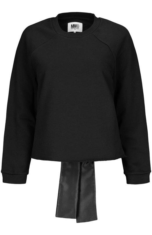 Свитер джерси Mm6Свитеры<br>Черный свитер украшен сзади широкими лентами. Мастера марки, основанной Мартином Маржелой, изготовили модель из мягкого хлопкового джерси. Нам нравится носить изделие из осенне-зимней коллекции 2015 года с юбкой и брогами.<br><br>Российский размер RU: 42<br>Пол: Женский<br>Возраст: Взрослый<br>Размер производителя vendor: S<br>Материал: Хлопок: 65%; Полиэстер: 100%;<br>Цвет: Черный