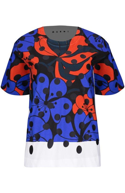 Футболка джерси MarniФутболки<br>Консуэло Кастильони включила синюю футболку с цветочным рисунком в коллекцию сезона осень-зима 2015 года. Модель прямого кроя, с короткими рукавами и круглым вырезом сшита из мягкого хлопкового джерси.<br><br>Российский размер RU: 40<br>Пол: Женский<br>Возраст: Взрослый<br>Размер производителя vendor: 38<br>Материал: Хлопок: 100%;<br>Цвет: Синий