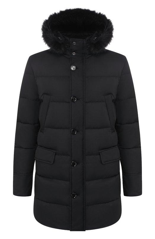Куртка с капюшоном MoorerКуртки<br>Черная куртка, утепленная легким пухом, вошла в коллекцию сезона осень-зима 2016 года. Модель с капюшоном изготовлена из гладкого водоотталкивающего материала. Пуховик с четырьмя карманами застегивается на молнию и пуговицы.<br><br>Российский размер RU: 48<br>Пол: Мужской<br>Возраст: Взрослый<br>Размер производителя vendor: 48<br>Материал: Подкладка-полиэстер: 50%; Подкладка-полиамид: 50%; Отделка-шерсть: 45%; Отделка-шерсть овечья: 45%; Отделка-акрил: 45%; Пух: 100%; Отделка м<br>Цвет: Черный