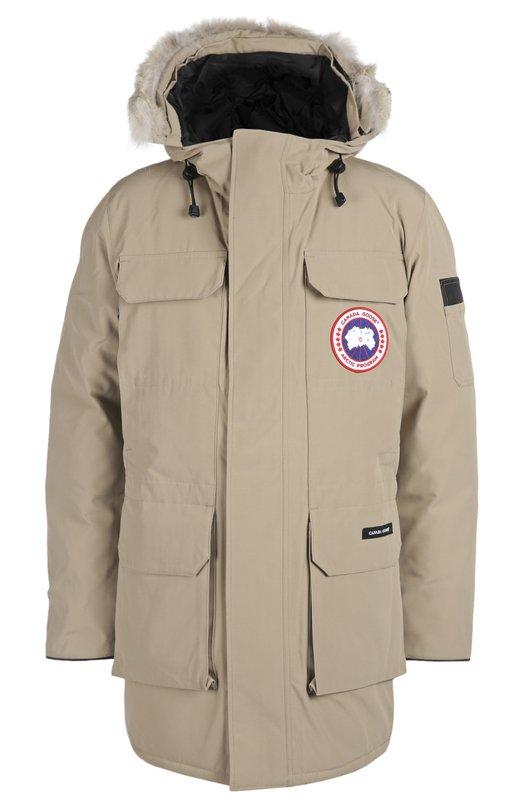 Куртка с отделкой Canada GooseКуртки<br><br><br>Российский размер RU: 46<br>Пол: Мужской<br>Возраст: Взрослый<br>Размер производителя vendor: S<br>Материал: Полиэстер: 85%; Хлопок: 15%; Подкладка-нейлон: 100%; Отделка мех нат.: 100%; Пух утиный: 100%;<br>Цвет: Бежевый