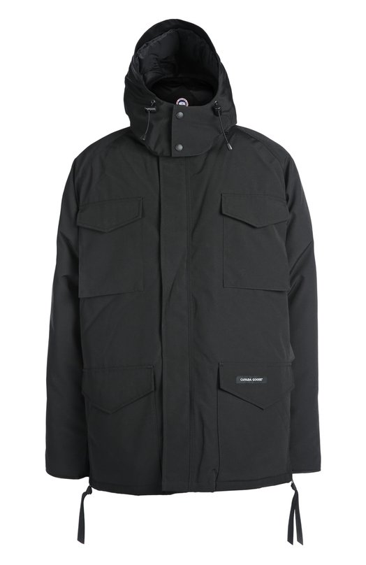 Куртка с капюшоном Canada GooseКуртки<br><br><br>Российский размер RU: 50<br>Пол: Мужской<br>Возраст: Взрослый<br>Размер производителя vendor: L<br>Материал: Полиэстер: 85%; Хлопок: 15%; Подкладка-нейлон: 100%; Пух: 100%;<br>Цвет: Черный