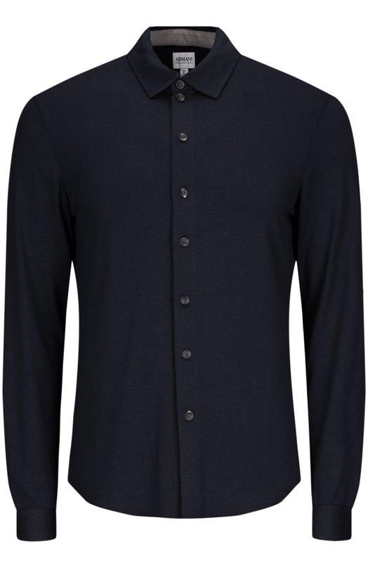 Рубашка джерси Armani CollezioniРубашки<br><br><br>Российский размер RU: 56<br>Пол: Мужской<br>Возраст: Взрослый<br>Размер производителя vendor: XXXL<br>Материал: Вискоза: 95%; Эластан: 5%;<br>Цвет: Темно-синий