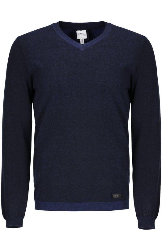 Вязаный пуловер Armani CollezioniСвитеры<br><br><br>Российский размер RU: 54<br>Пол: Мужской<br>Возраст: Взрослый<br>Размер производителя vendor: 50<br>Материал: Вискоза: 82%; Эластан: 2%; Полиэстер: 16%;<br>Цвет: Темно-синий