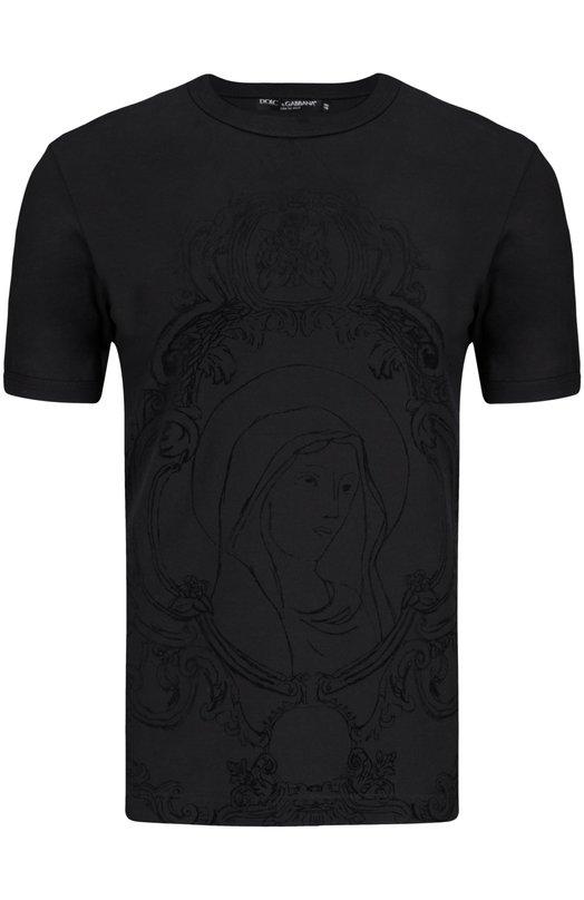 Футболка Dolce &amp; GabbanaФутболки<br><br><br>Российский размер RU: 50<br>Пол: Мужской<br>Возраст: Взрослый<br>Размер производителя vendor: 48<br>Материал: Хлопок: 100%;<br>Цвет: Черный