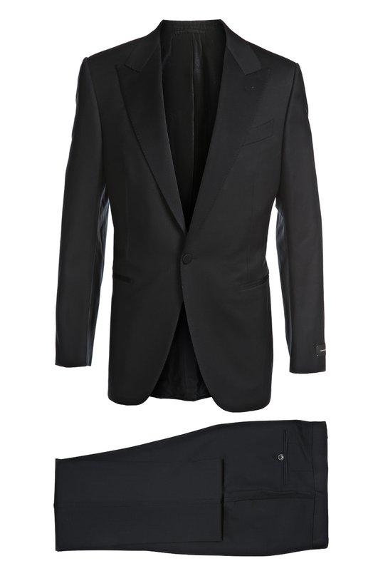 Смокинг Ermenegildo ZegnaСмокинги<br>Мастера марки, основанной Эрменеджильдо Зенья, сшили темно-синий смокинг с зауженными брюками из мягкой структурированной шерсти. Однобортный пиджак с остроконечными лацканами, двумя боковыми карманами и нагрудным карманом застегивается на одну пуговицу.<br><br>Российский размер RU: 60<br>Пол: Мужской<br>Возраст: Взрослый<br>Размер производителя vendor: 60-R<br>Материал: Шерсть: 100%; Подкладка-купра: 100%;<br>Цвет: Темно-синий