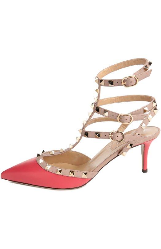 Кожаные туфли Rockstud на шпильке ValentinoТуфли<br>Туфли Rockstud из гладкой матовой кожи малинового цвета вошли в весенне-летнюю коллекцию бренда, основанного Валентино Гаравани. Элегантная пара с зауженным мысом, на каблуке kitten heel фиксируется на ноге узкими регулируемыми ремнями, украшенными знаковыми для обуви марки шипами-пирамидами.<br><br>Российский размер RU: 36<br>Пол: Женский<br>Возраст: Взрослый<br>Размер производителя vendor: 36<br>Материал: Кожа натуральная: 100%; Стелька-кожа: 100%; Подошва-кожа: 100%;<br>Цвет: Малиновый