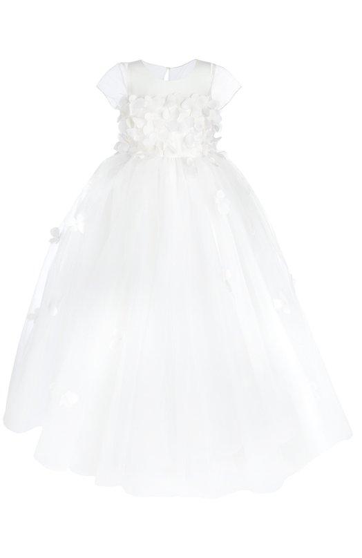 Платье Dennis BassoПлатья<br>Мастера бренда, основанного Деннисом Бассо, изготовили белое платье с  многослойным пышным подолом из полупрозрачного тонкого шелка. Модель с короткими рукавами и круглым вырезом декорирована объемной аппликацией в виде цветов в тон.<br><br>Российский размер RU: 32<br>Пол: Женский<br>Возраст: Детский<br>Размер производителя vendor: 6<br>Материал: Шелк: 100%;<br>Цвет: Белый