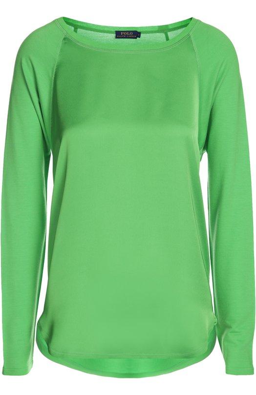 Топ Polo Ralph LaurenТопы<br>Блуза асимметричного кроя выполнена мастерами марки из тонкого мягкого текстиля зеленого цвета. Модель с длинным рукавом и вырезом бато вошла в весенне-летнюю коллекцию бренда, основанного Ральфом Лореном.<br><br>Российский размер RU: 52<br>Пол: Женский<br>Возраст: Взрослый<br>Размер производителя vendor: XL<br>Материал: Модал: 95%; Эластан: 5%; Полиэстер: 100%;<br>Цвет: Зеленый