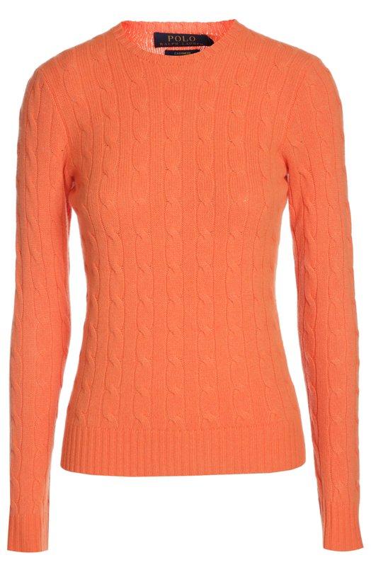 Купить Кашемировый пуловер фактурной вязки с круглым вырезом Polo Ralph Lauren, V39/ICJUL/W6996, Китай, Оранжевый, Кашемир: 100%;