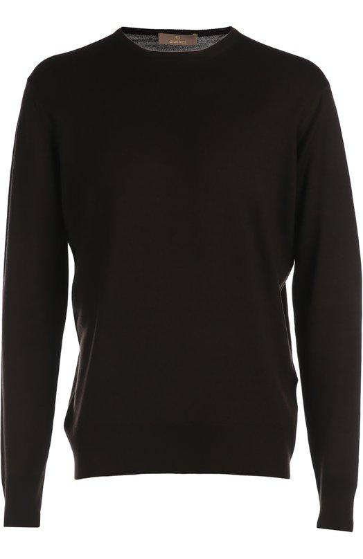 Вязаный пуловер CrucianiСвитеры<br>Пуловер с круглым вырезом вошел в коллекцию сезона весна-лето 2016 года. При создании модели мастера марки использовали мягкий шерстяной трикотаж темно-коричневого цвета. Мы советуем носить с серыми брюками, коричневым кардиганом и брогами.<br><br>Российский размер RU: 56<br>Пол: Мужской<br>Возраст: Взрослый<br>Размер производителя vendor: 54<br>Материал: Шерсть: 100%;<br>Цвет: Темно-коричневый