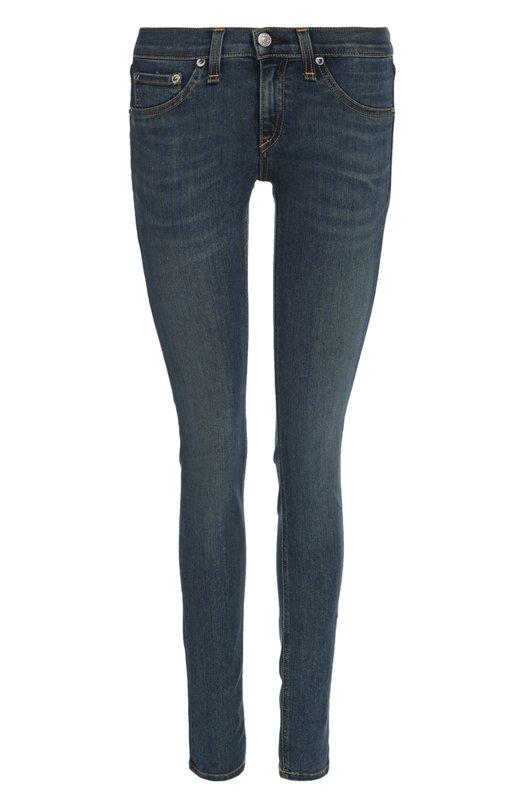 Джинсы Rag&amp;BoneДжинсы<br>Дизайнеры марки включили синие джинсы с декоративными потертостями в коллекцию сезона весна-лето 2016 года. Модель skinny сшита из мягкого плотного хлопка стрейч. Сзади изделие дополнено нашивкой с логотипом марки.<br><br>Российский размер RU: 48<br>Пол: Женский<br>Возраст: Взрослый<br>Размер производителя vendor: 29<br>Материал: Хлопок: 64%; Полиэстер: 34%; Полиуретан: 2%;<br>Цвет: Синий