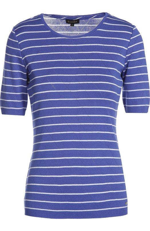 Футболка джерси EscadaФутболки<br>Облегающая футболка в полоску, с короткими рукавами и круглым вырезом вошла в весенне-летнюю коллекцию 2016 года. Для моздания модели мастера бренда использовали эластичный хлопок джерси синего цвета.<br><br>Российский размер RU: 42<br>Пол: Женский<br>Возраст: Взрослый<br>Размер производителя vendor: S<br>Материал: Хлопок: 99%; Эластан: 1%;<br>Цвет: Синий