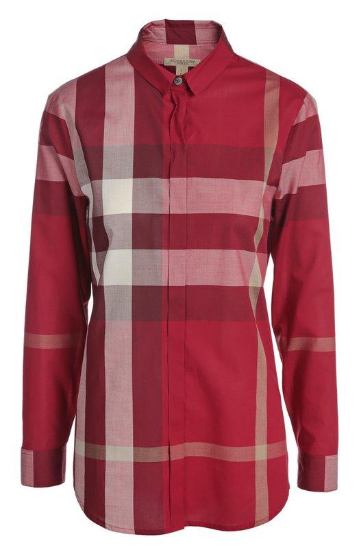 Блуза Burberry BritБлузы<br>Мастера бренда, основанного Томасом Берберри, сшили клетчатую блузу свободного кроя из тонкого хлопка малинового цвета. Модель застегивается на потайные пуговицы. Нам нравится сочетать с джинсами, стеганой курткой и кожаными полусапогами.<br><br>Российский размер RU: 48<br>Пол: Женский<br>Возраст: Взрослый<br>Размер производителя vendor: L<br>Материал: Хлопок: 100%;<br>Цвет: Малиновый