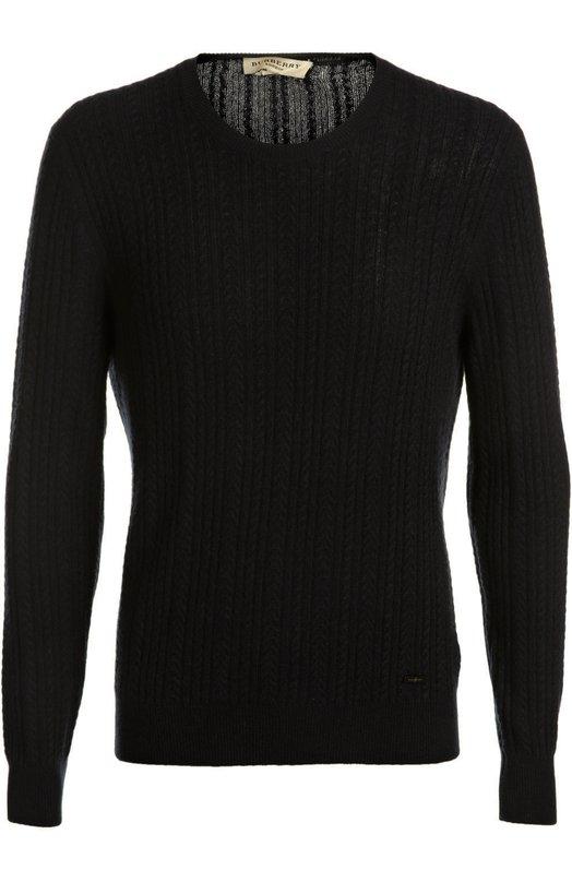 Вязаный пуловер BurberryСвитеры<br>Темно-синий пуловер прямого кроя, с круглым вырезом и рельефными арановыми узорами вошел в коллекцию сезона весна-лето 2016 года. Мастера бренда, основанного Томасом Берберри, выполнили модель из тонкого кашемира.<br><br>Российский размер RU: 50<br>Пол: Мужской<br>Возраст: Взрослый<br>Размер производителя vendor: L<br>Материал: Кашемир: 100%;<br>Цвет: Темно-синий