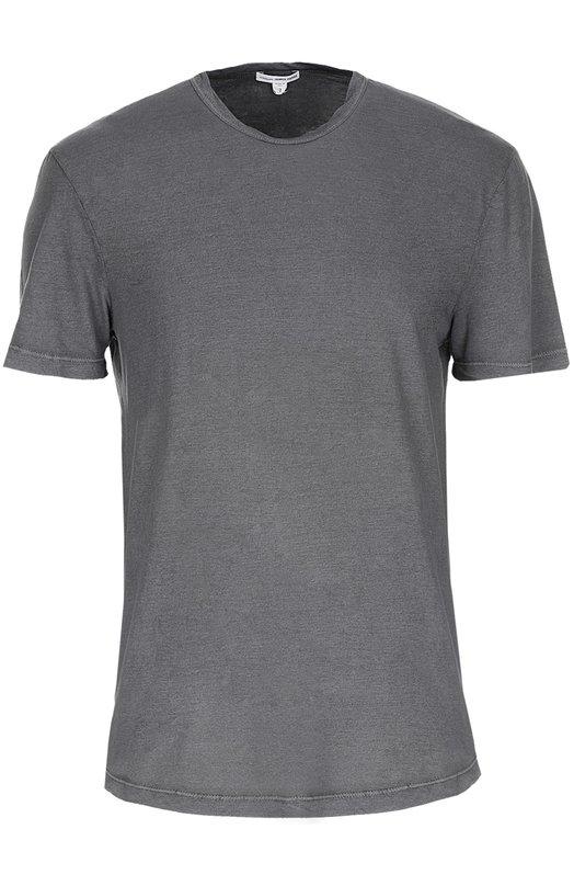 Хлопковая футболка с круглым вырезом James PerseФутболки<br><br><br>Российский размер RU: 48<br>Пол: Мужской<br>Возраст: Взрослый<br>Размер производителя vendor: 3<br>Материал: Хлопок: 100%;<br>Цвет: Серый
