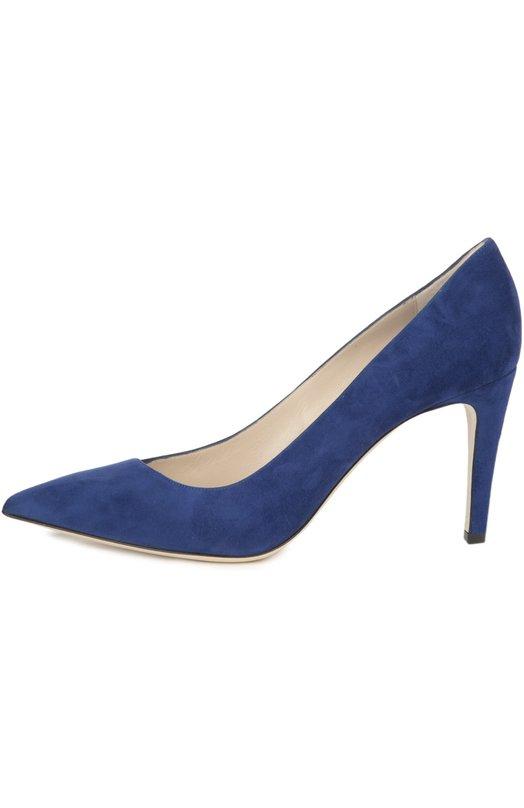 Туфли Giorgio ArmaniТуфли<br>При производстве туфель на невысоком каблуке мастера марки, основанной Джорджио Армани, использовали бархатистую замшу синего цвета. Модель с зауженным мысом и асимметричным вырезом вошла в весенне-летнюю коллекцию 2016 года.<br><br>Российский размер RU: 37<br>Пол: Женский<br>Возраст: Взрослый<br>Размер производителя vendor: 37-5<br>Материал: Стелька-кожа: 100%; Подошва-кожа: 100%; Замша натуральная: 100%;<br>Цвет: Синий