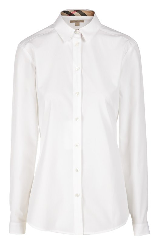 Блуза Burberry BritБлузы<br>Белая приталенная блуза дополнена длинными рукавами, отложной воротник – подкладкой в клетку Nova Сheck, ставшей визитной карточкой бренда, основанного Томасом Берберри. Модель выполнена из эластичного хлопкового поплина.<br><br>Российский размер RU: 40<br>Пол: Женский<br>Возраст: Взрослый<br>Размер производителя vendor: XS<br>Материал: Хлопок: 97%; Эластан: 3%;<br>Цвет: Белый