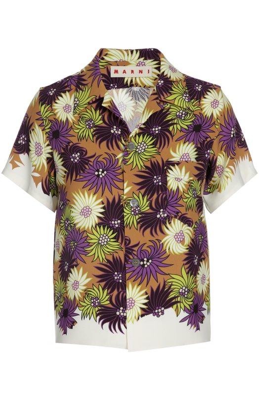 Блуза MarniБлузы<br>Блуза прямого кроя с короткими рукавами и отложным воротником вошла в коллекцию сезона весна-лето 2016 года. Модель с одним нагрудным карманом выполнена из тонкого шелка с разноцветным цветочным рисунком. Рекомендуем носить с бежевой юбкой, черными туфлями на каблуке и небольшой сумкой.<br><br>Российский размер RU: 44<br>Пол: Женский<br>Возраст: Взрослый<br>Размер производителя vendor: 42<br>Материал: Шелк: 100%;<br>Цвет: Желтый