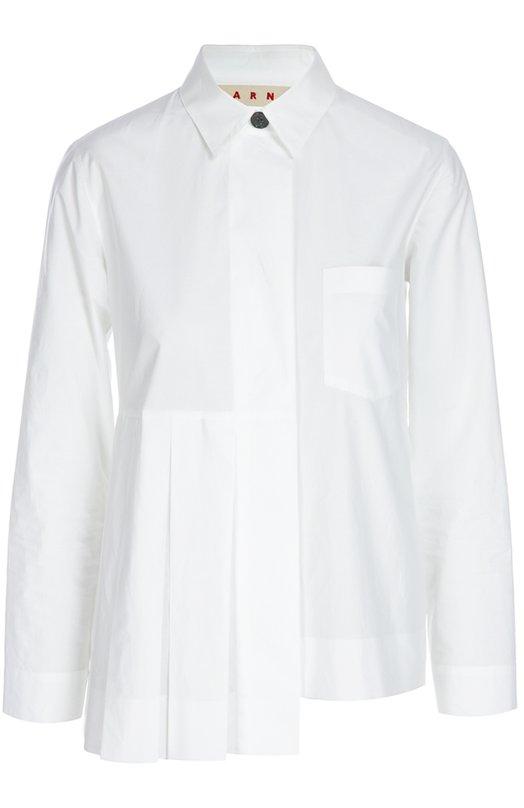 Блуза MarniБлузы<br>Белая сорочка с отложным воротником и длинными рукавами дополнена одним накладным карманом. Изделие сшито мастерами марки из мягкого плотного хлопка. В качестве декора использована плиссировка. Наши стилисты предлагают носить с юбкой и лоферами.<br><br>Российский размер RU: 44<br>Пол: Женский<br>Возраст: Взрослый<br>Размер производителя vendor: 42<br>Материал: Хлопок: 100%;<br>Цвет: Белый