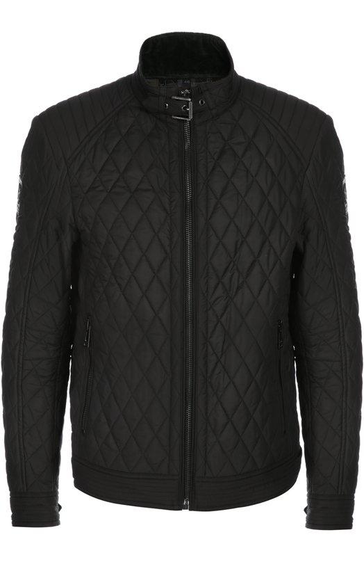 Куртка BelstaffКуртки<br>Стеганая мужская куртка защитного зеленого цвета. Отделка - из натуральной кожи. Модель отличается высоким воротником и прямым кроем. Такая куртка обеспечит комфорт и будет актуальна в ветреную погоду.<br><br>Российский размер RU: 56<br>Пол: Мужской<br>Возраст: Взрослый<br>Размер производителя vendor: 54<br>Материал: Полиэстер: 100%; Отделка кожа натуральная: 100%; Подкладка-хлопок: 100%;<br>Цвет: Черный