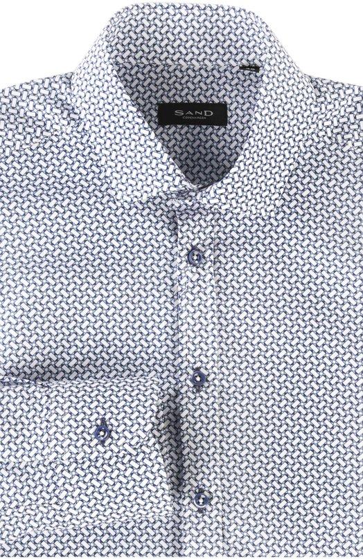 Сорочка SandРубашки<br>Сорен Сэнд включил в коллекцию сезона весна-лето 2016 года голубую сорочку с длинными рукавами и воротником кент. Модель выполнена из тонкого мягкого хлопка со сплошным геометрическим рисунком. Рекомендуем сочетать с синим блейзером, черными брюками и оксфордами.<br><br>Российский размер RU: 50<br>Пол: Мужской<br>Возраст: Взрослый<br>Размер производителя vendor: 40<br>Материал: Хлопок: 100%;<br>Цвет: Голубой