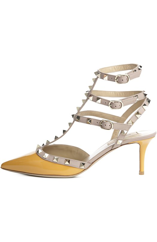 Лаковые туфли Rockstud на шпильке ValentinoТуфли<br>В весенне-летнюю коллекцию бренда, основанного Валентино Гаравани, вошли туфли с зауженным мысом, на невысоком тонком каблуке. Модель создана из лакированной кожи желтого цвета, ремни, украшенные шипами-пирамидами, — из телесной мелкозернистой кожи.<br><br>Российский размер RU: 39<br>Пол: Женский<br>Возраст: Взрослый<br>Размер производителя vendor: 39-5<br>Материал: Кожа натуральная: 100%; Стелька-кожа: 100%; Подошва-кожа: 100%;<br>Цвет: Желтый