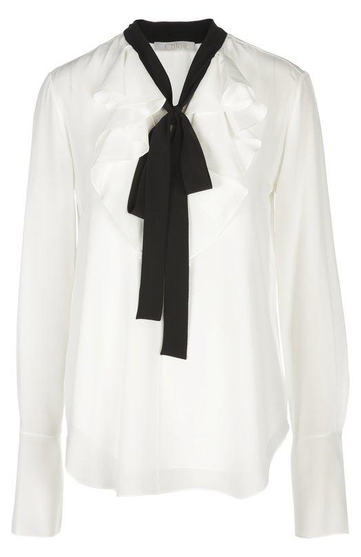 Блуза Chlo?Блузы<br>Блуза с жабо вошла в весенне-летнюю коллекцию 2016 года. Для производства модели с длинным рукавом, украшенной черным бантом, был использован тонкий крепдешин белого цвета. Советуем носить с белой накидкой, темной мини-юбкой и черными лакированными сапогами.<br><br>Российский размер RU: 40<br>Пол: Женский<br>Возраст: Взрослый<br>Размер производителя vendor: 34<br>Материал: Шелк: 100%;<br>Цвет: Белый