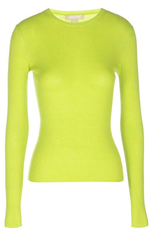 Вязаный свитер Michael KorsСвитеры<br>Майкл Корс включил джемпер с длинным рукавом в коллекцию сезона весна-лето 2016 года. Для создания облегающей модели с круглым вырезом мастера бренда использовали мягкий, приятный на ощупь кашемир зеленого цвета.<br><br>Российский размер RU: 40<br>Пол: Женский<br>Возраст: Взрослый<br>Размер производителя vendor: XS<br>Материал: Кашемир: 100%;<br>Цвет: Зеленый