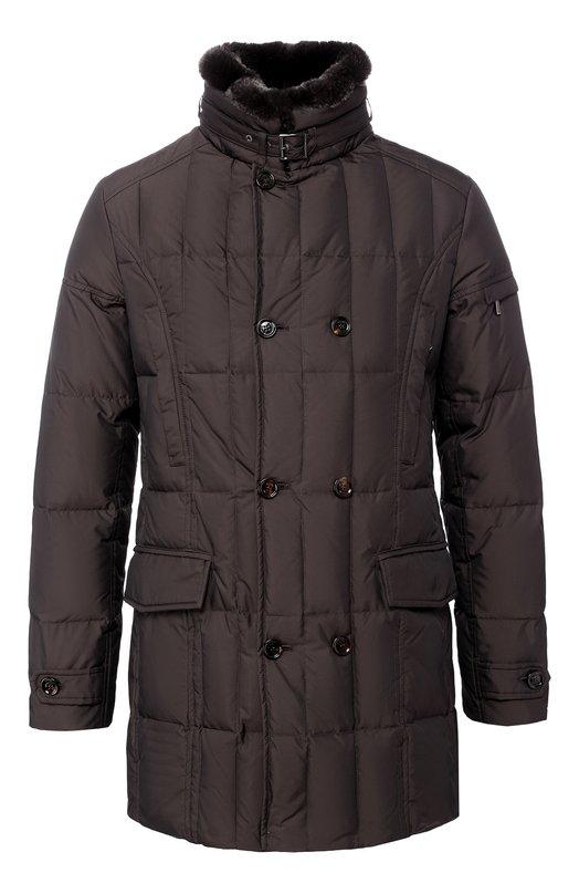 Куртка с воротником MoorerПальто и плащи<br>Практичная, теплая и стильная мужская куртка с прострочками и воротником из кролика на молнии. Такая модель будет отлично дополнять как деловой образ для работы, так и неформальный - для прогулки в прохладный день.<br><br>Российский размер RU: 56<br>Пол: Мужской<br>Возраст: Взрослый<br>Размер производителя vendor: 52<br>Материал: Подкладка-полиэстер: 50%; Подкладка-полиамид: 100%; Пух: 100%; Воротник/кролик/: 100%; Воротник/мех натуральный/: 100%; Полиэстер: 100%;<br>Цвет: Коричневый