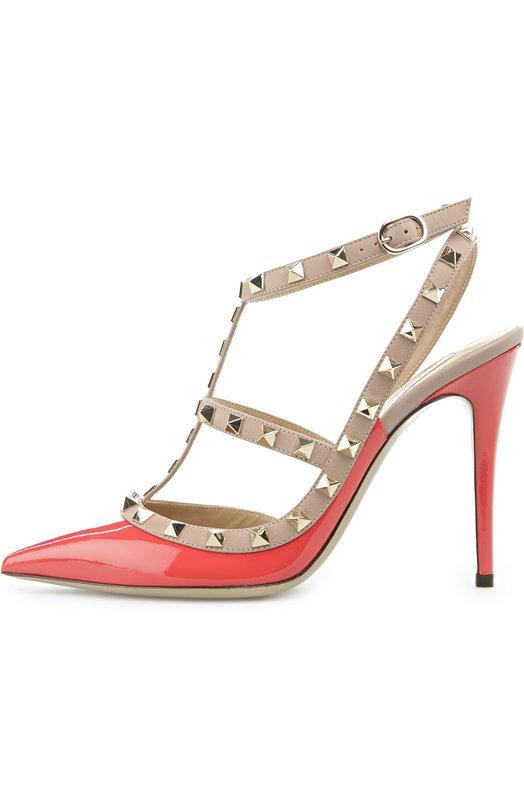 Лаковые туфли Rockstud на шпильке ValentinoТуфли<br>Для производства туфель Rockstud мастера бренда, основанного Валентино Гаравани, использовали лакированную кожу малинового цвета. Кант и ремешки, фиксирующие обувь на ноге, сшиты из матовой бежевой кожи. Модель с зауженным мысом, на тонком высоком каблуке вошла в весенне-летнюю коллекцию 2016 года.<br><br>Российский размер RU: 37<br>Пол: Женский<br>Возраст: Взрослый<br>Размер производителя vendor: 37-5<br>Материал: Кожа натуральная: 100%; Стелька-кожа: 100%; Подошва-кожа: 100%;<br>Цвет: Малиновый