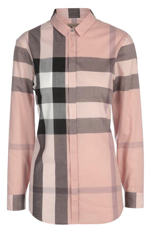 Блуза Burberry BritБлузы<br>Приталенная модель из плотно хлопка светло-розового цвета вошла в весенне-летнюю коллекцию бренда, основанного Томасом Берберри. Рубашка в клетку застегивается на потайные пуговицы. Рекомендуем носить со стеганой курткой, укороченными брюками, сумкой и полусапогами.<br><br>Российский размер RU: 42<br>Пол: Женский<br>Возраст: Взрослый<br>Размер производителя vendor: S<br>Материал: Хлопок: 100%;<br>Цвет: Светло-розовый