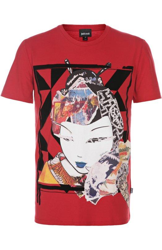 Футболка джерси Just CavalliФутболки<br>Контрастный принт с абстрактным изображением японской девушки украшает футболку из мягкого хлопкового джерси красного цвета. Модель с круглым вырезом и короткими рукавами вошла в весенне-летнюю коллекцию бренда, основанного Роберто Кавалли.<br><br>Российский размер RU: 48<br>Пол: Мужской<br>Возраст: Взрослый<br>Размер производителя vendor: M<br>Материал: Хлопок: 100%;<br>Цвет: Красный