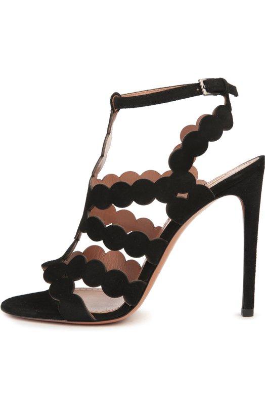 Замшевые босоножки на шпильке AlaiaБосоножки<br>Модель из мягкой бархатистой замши черного цвета вошла в весенне-летнюю коллекцию марки, основанной Аззедином Алайя. Босоножки на высоком тонком каблуке фиксируются на ноге тонким Т-образным ремешком с пряжкой.<br><br>Российский размер RU: 37<br>Пол: Женский<br>Возраст: Взрослый<br>Размер производителя vendor: 37-5<br>Материал: Стелька-кожа: 100%; Подошва-кожа: 100%; Замша натуральная: 100%;<br>Цвет: Черный
